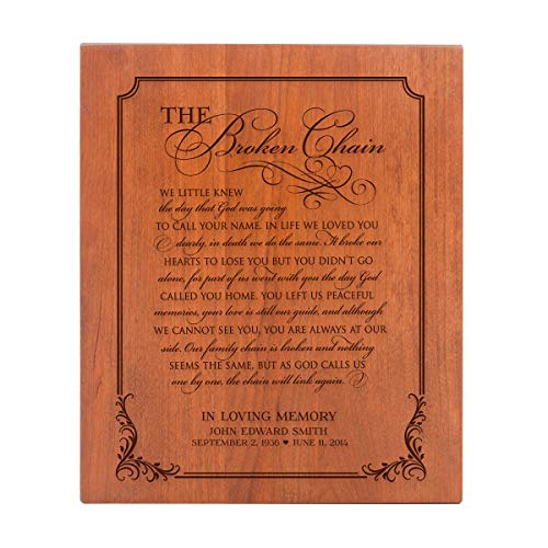 LifeSong Milestones Large Personalized Wooden Cremation Urns for Human Adult Ashes Small Memorial Keepsake Box for Cremains, Custom Engraved Funeral Urn for Adults (Broken Chain)