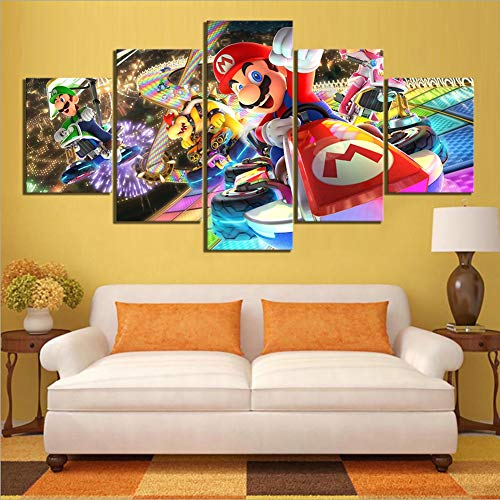 - BOYH 5 Pieces Mario Kart Cartoon Game HD Prints Wall Art Poster Modular Pictures Canvas Paintings Frameworks Decor for Living Room,A,30×50×2+30×70×2+30×80×1