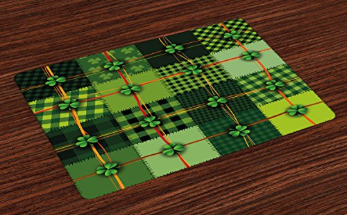 Ambesonne Irish Place Mats Set of 4, Patchwork Style St. Patrick's Day Themed Celtic Quilt Cultural Checkered Clovers, Washable Fabric Placemats for Dining Table, Standard Size, Green Orange (St Patricks Day Placemats)