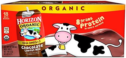 Horizon Organic Low Fat Organic Milk Box Plus DHA Omega-3, Chocolate, 8 Ounce (Pack of