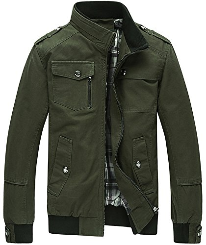 Men's Long Sleeves Classic Military Style Multi Pockets Zip Up Chino Cotton Cargo Bomber Jacket Coat Outwear Olive Green M/40=Tag 2XL (Mens Short Bomber)