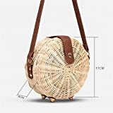 Women Straw Bag Handmade Summer Rattan Handbag Round Female Crossbody Shoulder Bags Casual Beach Pocket Beige Small