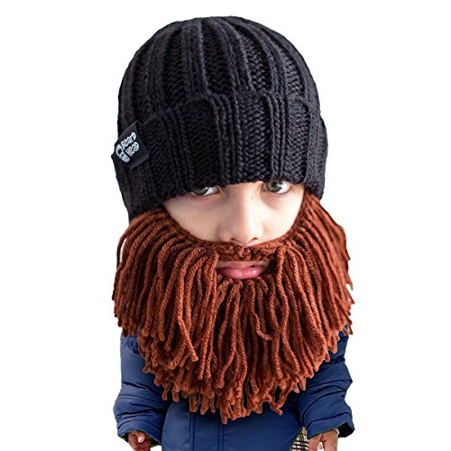 Beard Head Kid Vagabond Beard Beanie - Knit Hat and Fake Beard for Kids Toddlers Brown ()