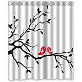 Romanic Red Birds On Branch Black And White Shower Curtain Standard Sized Bath Tubs Use