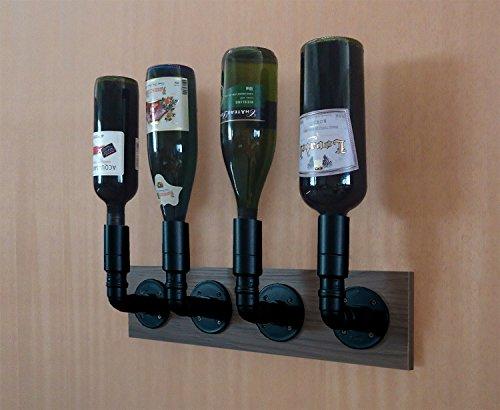 Adega Suporte Bar Porta Vinhos Garrafas Bebidas Suspenso Estilo Industrial Preto Laca