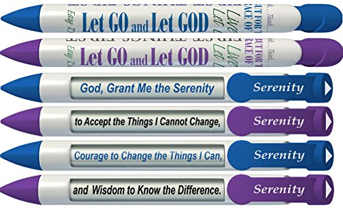 (Greeting Pen Serenity Prayer Inspirational Purple and Blue Pens with Rotating Messages, 6-Pack (36025))