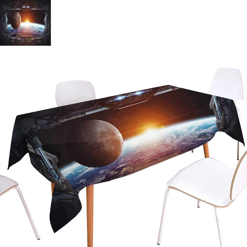 familytaste 宇宙 ディナー ピクニック テーブル クロスウィンドウ 宇宙船から宇宙空間のディスカバリー フィクション アート 防水 テーブルカバー キッチン グレー ブラック W60