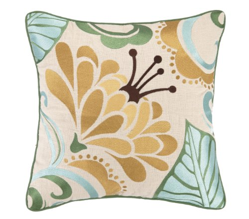KD Spain Talavera Embroidery Linen Pillow III, 16 by 16-Inch, Turquoise/Gold by KD Spain