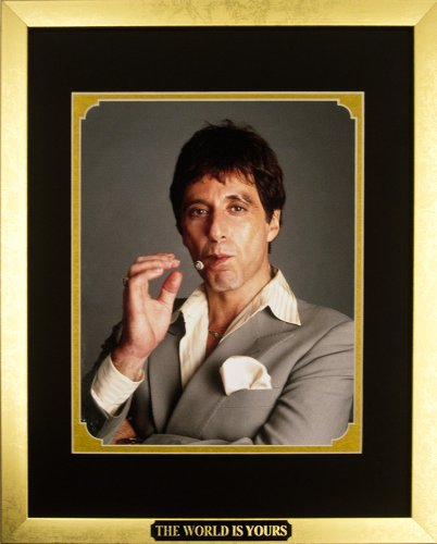 Movies collectibles Scarface - Al Pacino as Tony Montana with Cigar. Framed Photo in the Custom Made Modern Scratched Gold Wood Frame (12.5 x 15.5)