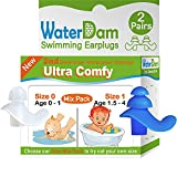 WaterDam Swimming Ear Plugs for Baby Infants Toddlers, 2 Pairs Size-Mix Pack (Baby 0-1yr Clear and Toddlers 1.5-4yr Blue) Ultra Comfy Reusable Silicon Waterproof Earplugs