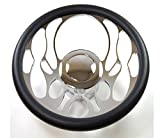 """Hot Rod 14"""" Chrome Billet """"Flamed"""" Style Steering Wheel Package W/Leather Grip"""