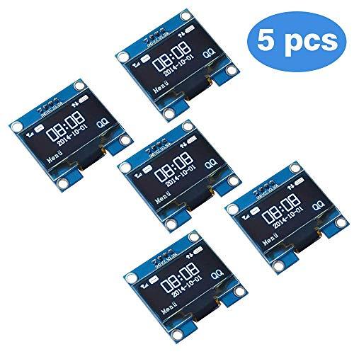 PEMENOL 5PCS OLED Display Module 128 x 64 OLED Display I2c 0.96inch Arduino OLED Display IIC Serial OLED Module with SSD1306 for Raspberry Pi and Microcontroller - White Light ()