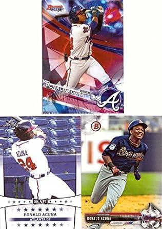 Amazoncom Ronald Acuna Atlanta Braves Lot Of 3 Baseball