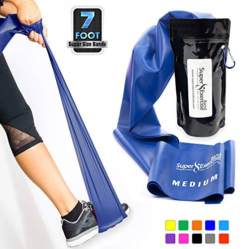 Super Exercise Band Medium Blue 7 ft. Long Resistance Band and Door Anchor Set, Carry Pouch. Latex Free Home Gym, Fitness, Strength Training, Physical Therapy, Yoga, Pilates, Rehab, Chair Workouts.