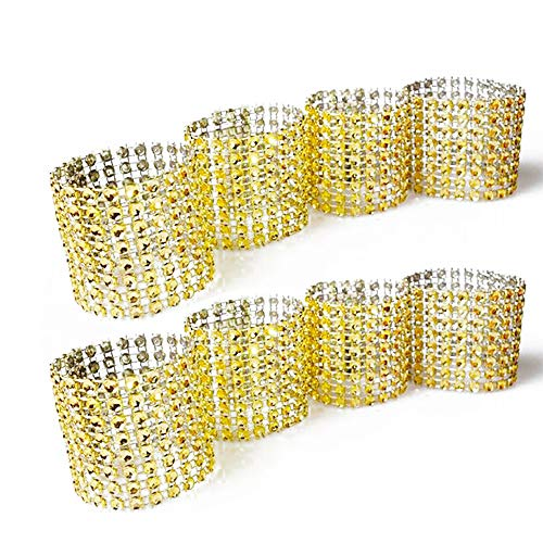 Napkin rings,gold rhinestone mesh bling napkin rings for wedding decoration,plastic chair sash bows,napkin holder for DIY party birthday banquet supply 5.12 x 1.57inch Pack of 120