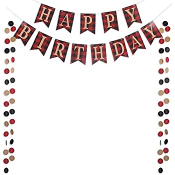 Happy Birthday Banner Sign with 50pcs Circle Dots Garlands for Boy Children  First Birthday Country Rustic