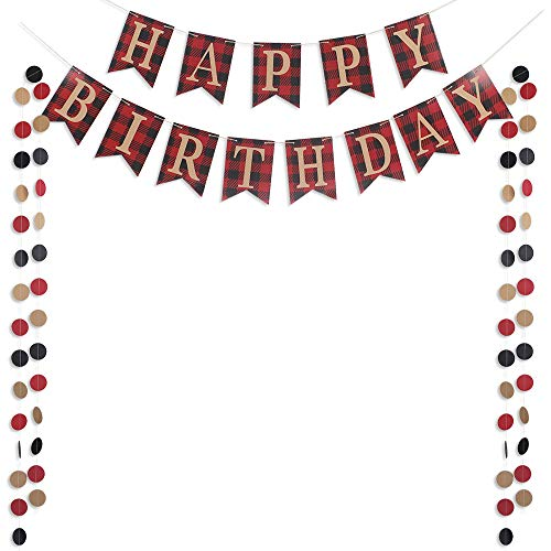 Happy Birthday Banner Sign with 50pcs Circle Dots Garlands for Boy Children First Birthday Country Rustic Birthday Woodland Party -