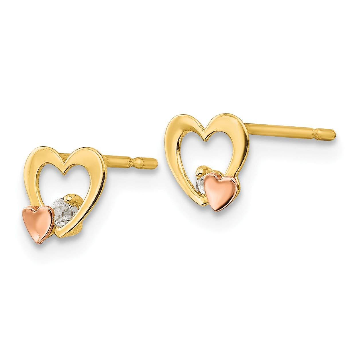 14k Yellow /& Rose Gold Madi K CZ Childrens Heart Post Earrings