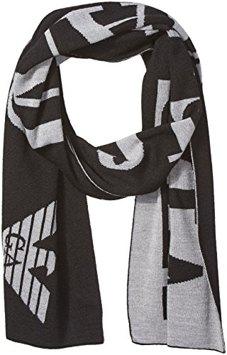 Armani Jeans Men's Wool Blend Logo Scarf, black, One Size