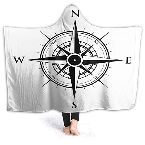 Wearable Hooded Blanket Beautiful Navigation Tech Travel Cloak for Adults and Children Men Women Cozy Throw Sherpa Fleece Soft Winter Novelty Blanket Bed Home Sofa 40