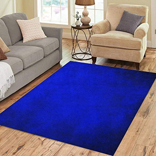 Pinbeam Area Rug Royal Blue Black Border Cool Color Vintage Abstract Home Decor Floor Rug 3' x 5' Carpet
