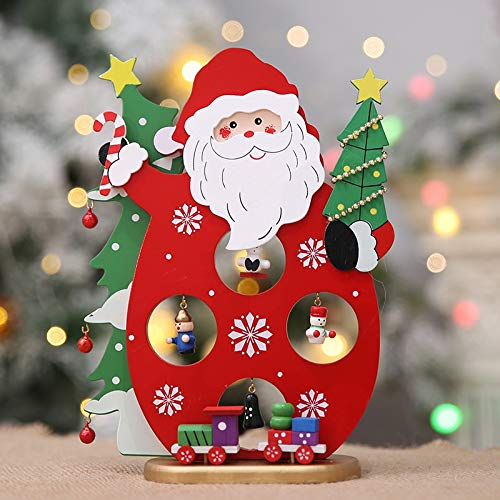 Mint Wedding - Wooden Red Santa Claus Diy Desk Figurines Supply Table Desktop Craft Decor Christmas Decoration - Figurines Silver Metal Miniatures Figurines Miniatures Ornament Crystal Tabl
