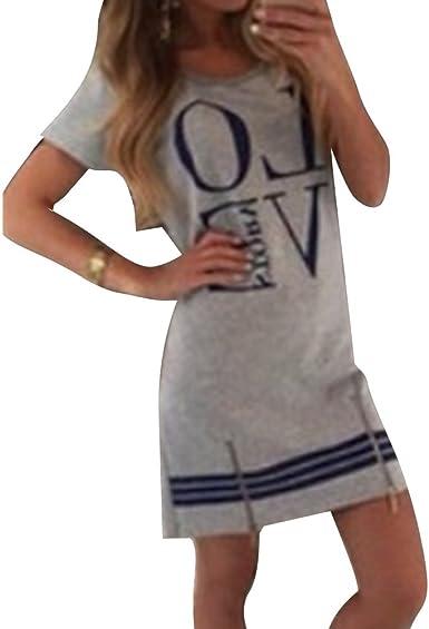 Juleya Vestido Mujer Verano Playa Camisa Vestidos Mini Preppy Vestido Jumper Vestidos de Manga Corta Vestido de Lápiz Ropa de Playa Túnica Blusa: Amazon.es: Ropa y accesorios