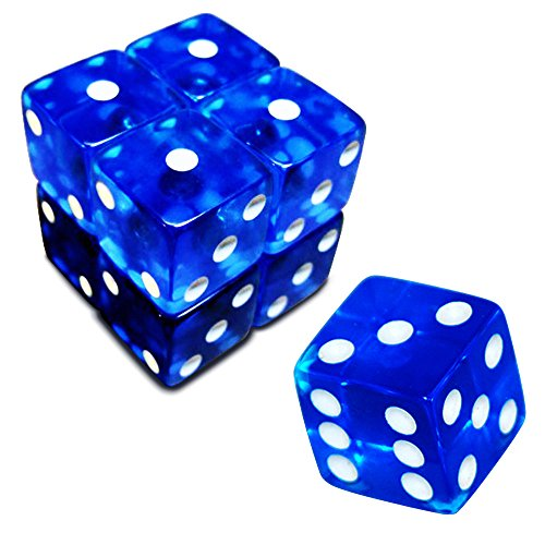 (19mm D6 Six-Sided Gaming Transparent Casino Dice (Blue Square, 5pcs))