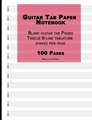 Guitar Tab Paper: Red Cover, Blank guitar tab paper Notebook featuring twelve 6-line tablature staves per page with a