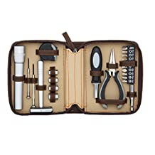23-in-1 Tool Set with Tape Measure, Hammer, Flash Light, Pliers & Hand Multi-tool (Brown) by SMB Group