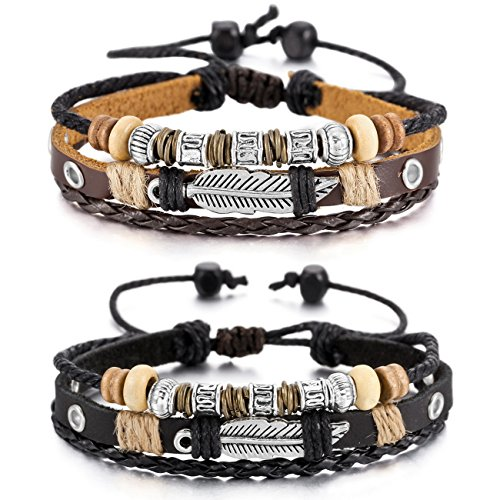 MOWOM Brown Black Silver Tone Alloy Genuine Leather Bracelet Angel Wing Feather Surfer Wrap ()