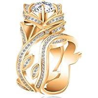 2PCs/Set Ladies Luxury Wide Ring Gold Plated Titanium Steel Zircon Ring Gift Color Gold (6)