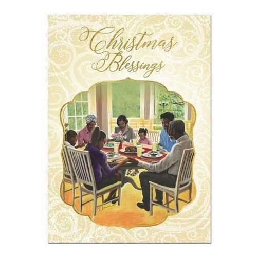 "Search : African American Expressions - Family Dinnertime/Christmas Blessings Boxed Christmas Cards (15 cards, 5"" x 7"") C-942"
