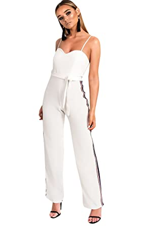 3f4a4759d3 Ikrush Womens Zara Rainbow Stripe Wide Leg Jumpsuit White UK 12 ...