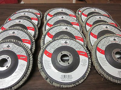 "15pc ASSORTMENT 4"" FLAP DISCS ANGLE GRINDER WHEELS 40 60 80 GRIT 5/8"" ARBOR from GOLIATH INDUSTRIAL TOOL"