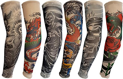 Yariew 6pcs Temporary Tattoo Sleeves, 6pcs Set Arts Temporary Fake Slip On Tattoo Arm Sleeves Kit Style 9