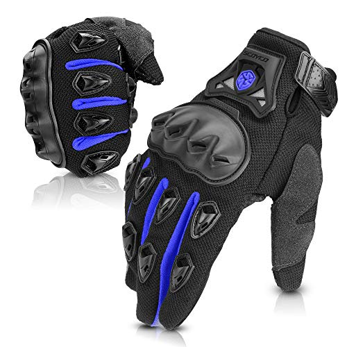 (SCOYCO Motorcycle Gloves men, with Reinforced Knuckle,Anti-Slip,Breathable,Shockproof Powersports Protective Riding Gloves (Blue,L))