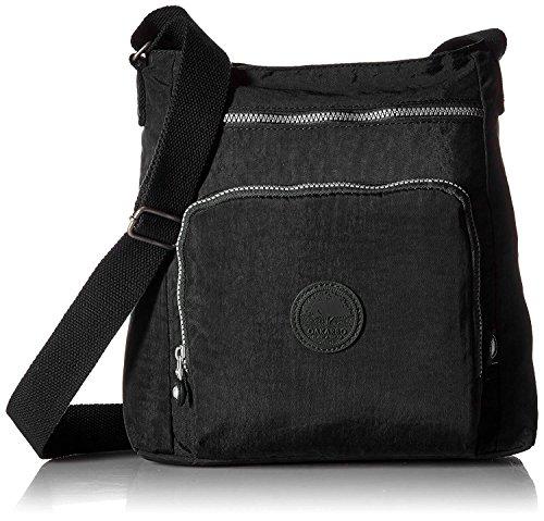 Oakarbo Nylon Crossbody Purse Multi-Pocket Travel Shoulder Bag (1301 Black)