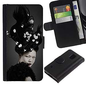 APlus Cases // Samsung Galaxy S5 V SM-G900 // Mujer blanca morena loco pelo // Cuero PU Delgado caso Billetera cubierta Shell Armor Funda Case Cover Wallet Credit Card
