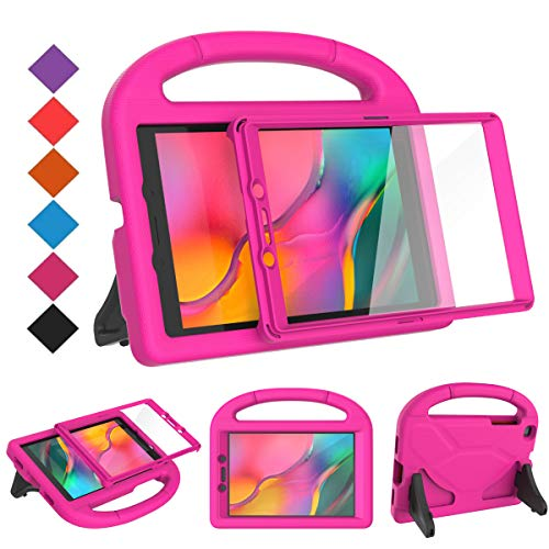 BMOUO for Samsung Galaxy Tab A 8.0 Case 2019 SM-T290/T295, Tab A 8.0 2019 Case with Screen Protector, Shockproof Light Weight Handle Stand Galaxy Tab A 8.0 inch 2019 Kids Case Without S Pen - Rose (Galaxy 8in Case Tablet)