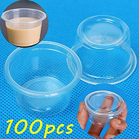100pcs 1oz 30ml Cup With Lid Clear Plastic Pudding Jelly Sauce Cup3 (Nice Shot Snoopy)