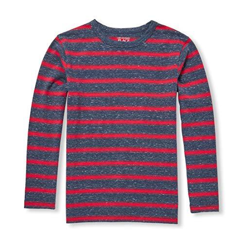 The Children's Place Big Boys' Kid Long Sleeve Stripe Shirt, Nocturnal, S (5/6) (Best Place For Plain T Shirts)
