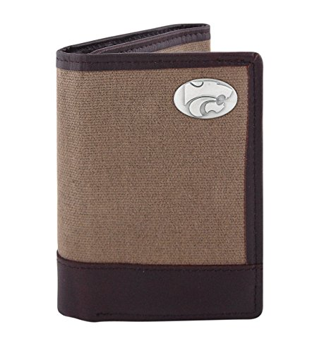 ZEP-PRO NCAA Kansas State Wildcats Canvas Leather Concho Tri-Fold Wallet, Olive