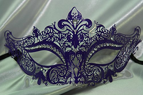 Womens Filigree Metal Venetian Masquerade Mask - Dark Purple, White Rhinestones (Feathered Masquerade Mask)