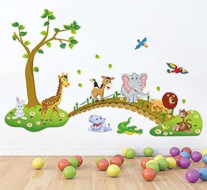 HALLOBO® XXL Wandsticker Wandtattoo Kinderzimmer Wald Tierbrücke Tier  Brücke Baum Elefant Giraffe Eulen Ameise Wandaufkleber Wall Sticker Kinder  Kind ...