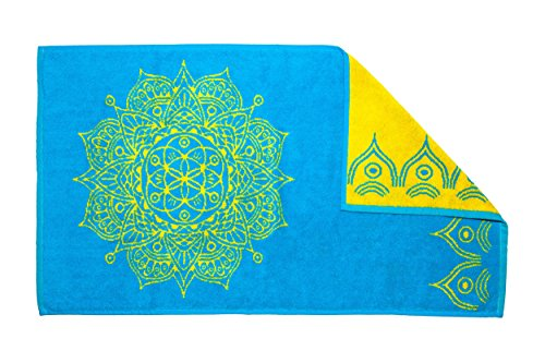 - Mandala Life ART Best Mandala Bath Towel Jacquard Woven - 52x27 inches - Made in Turkey - Cotton (Sky Blue)