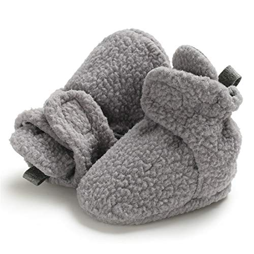 Sawimlgy Baby Boys Girls Warm Fleece Ankle Booties Soft Sole Shoes Grippers Slippers Prewalkers Frist Birthday Gift (6-12 Months, H-Grey)]()