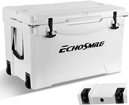 EchoSmile 75 Quart Cooler, Rotomolded Cooler with Wheels, Portable White Ice Chest,120-Can Capacity, Built-in Bottle Opener, Bottle Holder, Fish Ruler, for Golf, Camping, Picnic, Outdoor Fishing