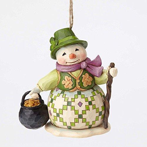 Enesco Jim Shore Heartwood Creek Irish Snowman Pot of Gold Christmas Ornament 4053841