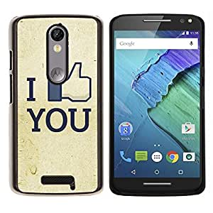 EJOOY---Cubierta de la caja de protección para la piel dura ** Motorola Moto X3 3rd Generation ** --Divertido I Like You